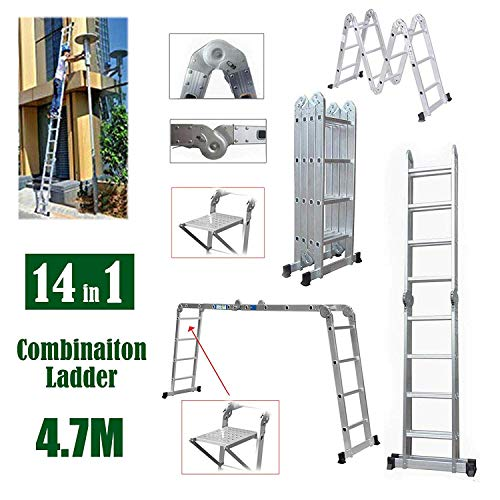 Escalera 4.7M extensión plegable de aluminio resistente compacto de escalera 14 en 1 Multi-Posición de combinación multiusos de la escalera antideslizante de bloqueo de seguridad de la carga máxima 15