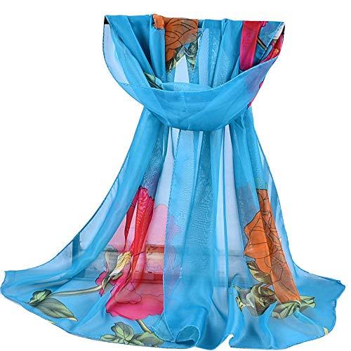 GreatestPAK Frauen Chiffon Schal Gedruckt Weiche Wrap Wraps Schal Damen Schals, Blau