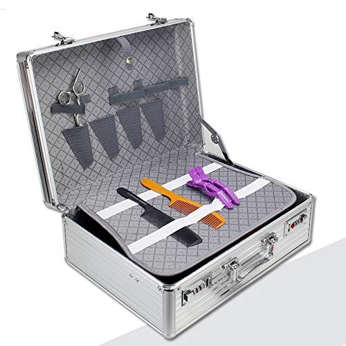 Multi-Pocket Barber styliste voyage portable sac verrouillable en aluminium étui dur organisateur pour sèche-cheveux Clippers trimmers,Silver