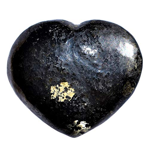 Zenergy Gems Selenite Charged Hand-Carved Natural Starburst Flash Nuummite Pocket Puffy Heart/Palm Heart/Worry Stone + Baby Selenite Puffy Heart Charging Crystal [Included]