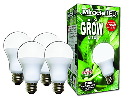 Miracle LED Commercial Hydroponic Ultra Grow Lite - Replaces up to 150W - Daylight White Full Spectrum LED Indoor Plant Growing Light Bulb For DIY Horticulture & Indoor Gardening (604281) 4 Pack
