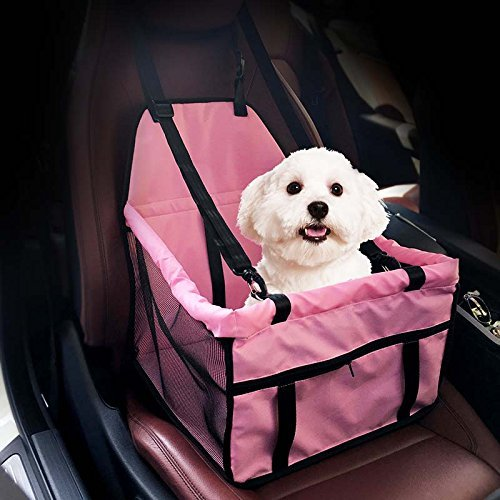 Dog Car Seat,GENORTH Upgrade Deluxe Portable Pet Dog Booster Car Seat with Clip-On Safety Leash and Dog Blanket,Perfect for Small and Medium Pets(Pink)