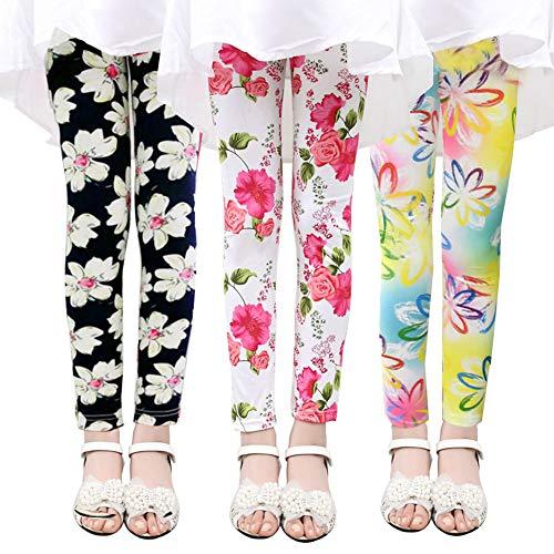 Ehdching Baby Girls Printing Flower Ninth Pants Tight Fashion Toddler Kids Leggings