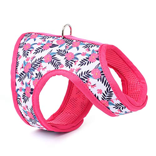 Mile High Life | Easy Step in Air Mesh Vest Harness | Spring Floral Collection | Adjustable Easy Closures Both Neck and Chest |20 lbs Small Dogs & Cats | Peony | XS Chest Size (14