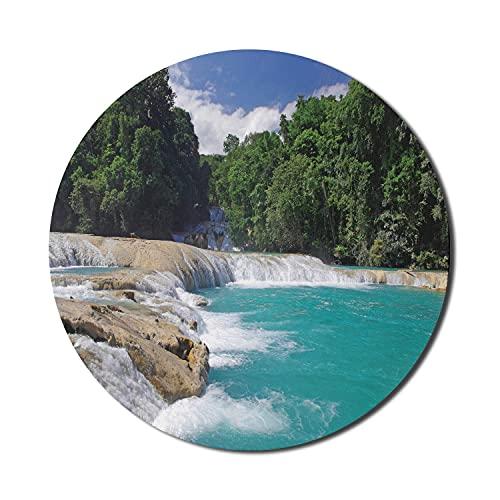 Exotisches blaues Mauspad für Computer, Landschaft des Aqua-Wasserfalls Chiapas Mexiko Feiertagseinstellung in einem Dschungel, rundes rutschfestes dickes Gummi-modernes Gaming-Mauspad, 8 'rund, mehrf