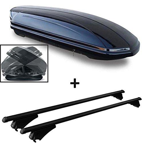 VDP Dachbox schwarz MAA 580 Duo Auto Dachkoffer beidseitig aufklappbar 580 Liter abschließbar + Alu-Relingträger Dachgepäckträger im Set kompatibel mit Audi A6 4G Avant ab 2011