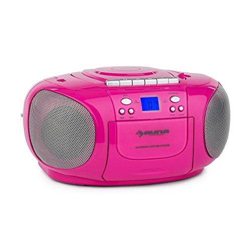 auna BoomGirl - CD-Radio, Minicadena, Radiocassette, CD/MP3 programable, Platina Cassette, Radio FM, Puerto USB Compatible con MP3, AUX, Pantalla LCD, Altavoces estéreo, Portátil, Rosa