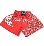 Extiff Muay Thai - Pantalones cortos de boxeo tailandés para artes marciales (rojo/blanco, L)