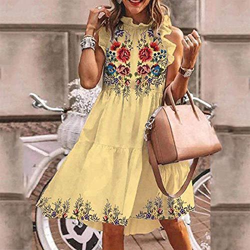 AMhomely Vestidos de mujer Promoción Venta Liquidación Señoras Casual Lindo Verano Sin Mangas Impresión Todo Partido Vestido Eleagante Vestido Reino Unido Talla S-3XL