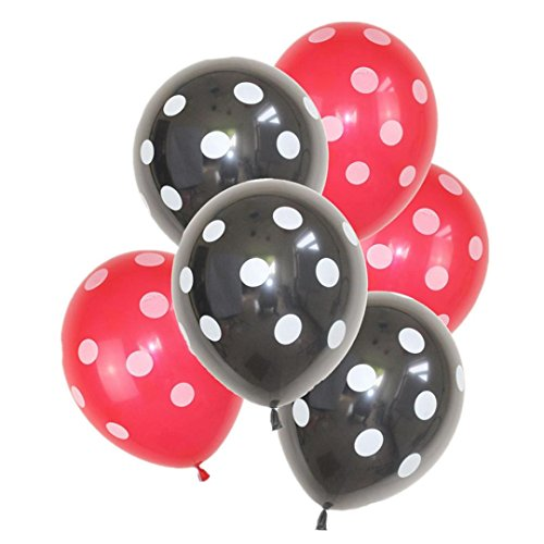 Jeeke 32 Pcs Balloons Decor,Ladybug Polka Dot Latex Balloons For Wedding Party Baby Shower Birthday Decor (Color A)