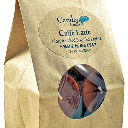Caffe Latte, Coffee Scented Soy Tealights, 12 Pack Clear Cup Candles