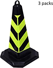 Multi-Functional Traffic Cone Rubber Road Cone Square Cone Reflective Roadblock Cone Ice Cream Cone Traffic Cone Barrel Safety (Color : 3 Packs, Size : 50cm)