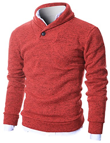 Ohoo Mens Slim Fit Shawl Collar Sweater Long Sleeve Pullover With Warm Lining/DCP014-RED-M
