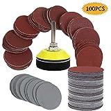 Bluesees - Dischi abrasivi per smerigliatrice, 100 pezzi, kit per trapano e smerigliatrice...