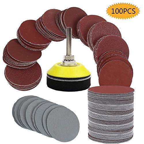 Bluesees - Dischi abrasivi per smerigliatrice, 100 pezzi, kit per trapano e smerigliatrice, con piastra di supporto da 1/4', include carta vetrata 80, 100, 180, 240, 600, 800, 1000, 1200, 2000, 3000