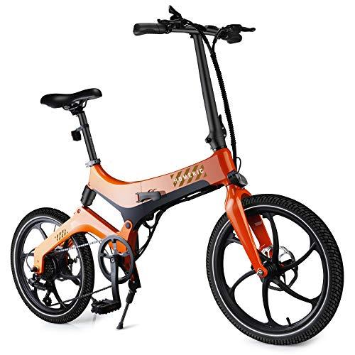 HOMERIC Elektrofahrrad 20 Zoll, E-Bike Klapprad Anfahrhilfe, 7 Gänge, Fahrunterstützung 25 km/h, Reichweite 100 km Elektrofahrräder mit 7,8 Ah Batterie Klappräder Faltrad 350W elektrisches