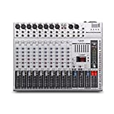 GMX1200 - Mesa de mezclas profesional de audio para micrófono (12 canales, 8 monos, 4 estéreo, 7 marcas, 16 efectos, reproducción USB)