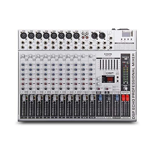 Mischpult,GMX1200 Professionelle Audiomixer-Mikrofonkonsole DJ Music Studio 12 Kanäle 8 Mono 4 Stereo 7 Marke EQ 16 Effekt USB-Wiedergabe