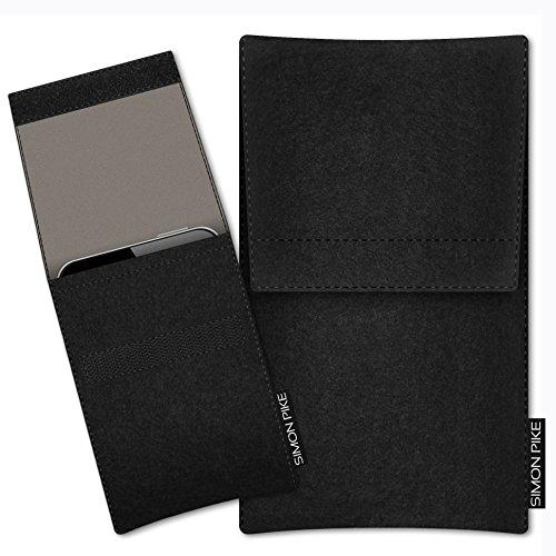 SIMON PIKE Hülle Tasche kompatibel mit Microsoft Surface Duo | Filztasche Sidney in 7 schwarz aus Filz (echtem Wollfilz) Handyhülle