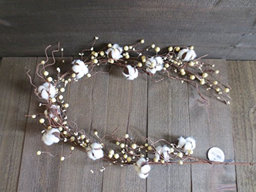 Direct International 55 inch Country Farmhouse Cotton Boll & Berry Garland Rustic Decor