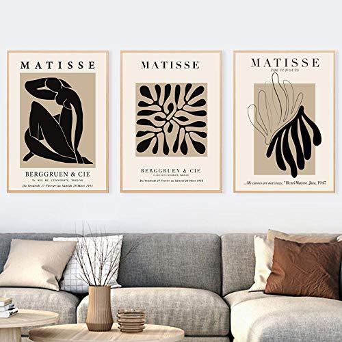 SRDFDF Henri Matisse Pintura Abstracta Ilustración Arte de la Pared Impresiones en Lienzo Póster Vintage Cuadros de Pared Beige Decoración para el hogar 50X70cmx3 20x28x3 Pulgadas Sin Marco