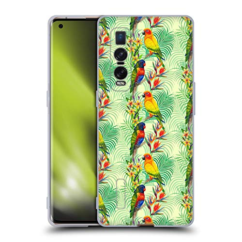 Official Laura Thompson Macau Parrots Tropical Patterns Soft Gel Case Compatible for Oppo Find X2 Pro