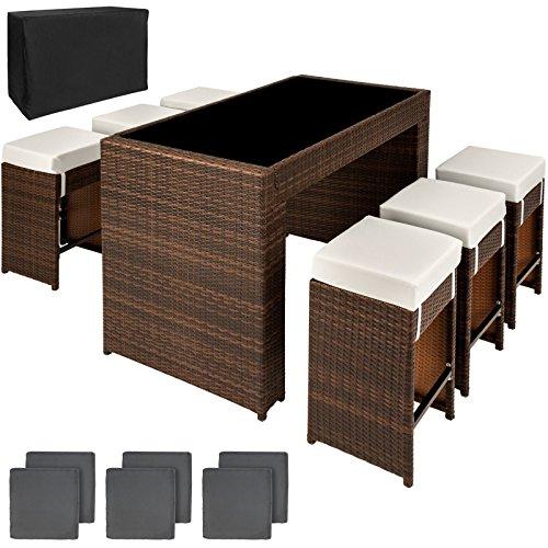 SSITG Polyrattan aluminium barset tafel 6 barkrukken rotan bar bar bar bar zwembadbar bruin