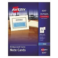 エイブリィ8317印刷エンボスカード4-1 / 4×5-1 / 2アイボリー2/60ページカード&封筒/ボックス
