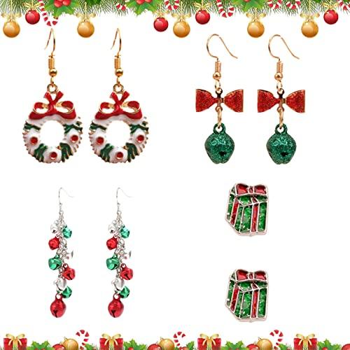 JOKILY 4 paia di orecchini natalizi creativi, ideali come regalo di Natale, orecchini di Natale, da donna, per Natale, orecchini a perno