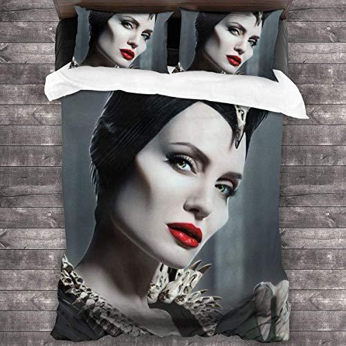 Maleficent - Set di biancheria da letto, adatto per tutte le stagioni, morbido e caldo, con cerniera, set da 3 pezzi
