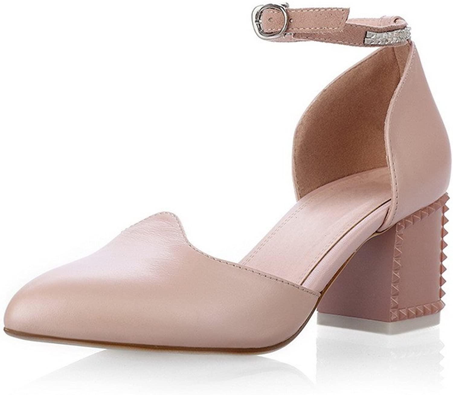 AmoonyFashion Womens Closed Pointed Toe Mid Heel Soft Material PU Solid Pumps, Pink, 10 B(M) US