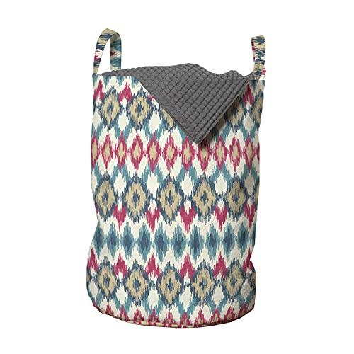 ABAKUHAUS ikat Bolsa de lavandería, nativo de México, Cesta con asas Cierre de cordón para las lavanderías, 33 x 33 x 49 cm, Multicolor
