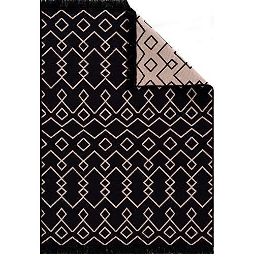 Fashion4Home Teppich Läufer - Tepiche für Wohnzimmer, Schlafzimmer, Küche, Kinderzimmer, Badezimmer - Boho Kelim Teppiche - Läufer Flur Teppich Schwarz-Beige, Größe: 80x150 cm