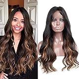 ZanaWigs - Peluca de cabello 100 % peruano Remy ondulado con encaje frontal, sin pegamento, con pelo humano de dos tonos y color en capa interior
