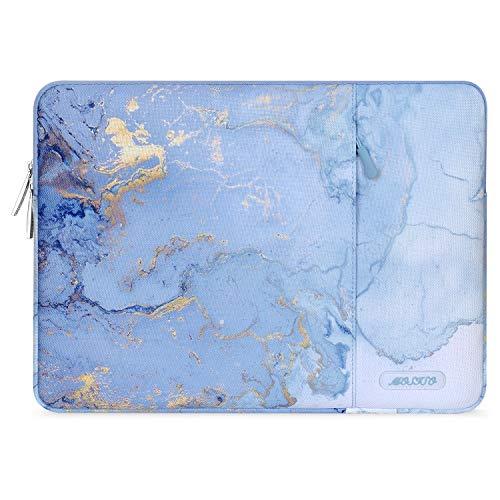 MOSISO Laptop Hülle Kompatibel mit 13-13,3 Zoll MacBook Pro, MacBook Air, Notebook, Polyester Vertikale Aquarell Marmor Sleeve mit Tasche, Blau