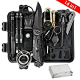 Survival Kit, 14 in 1 Survival Gear Gifts for Men Husband Father, Emergency Survival Kit for Hiking, Hunting, Camping Adventures, Outdoors Sport