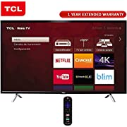 TCL 49-Inch Class S-Series 4K Ultra HD Roku Smart LED TV 2017 Model (49S405) + 1 Year Extended Warranty
