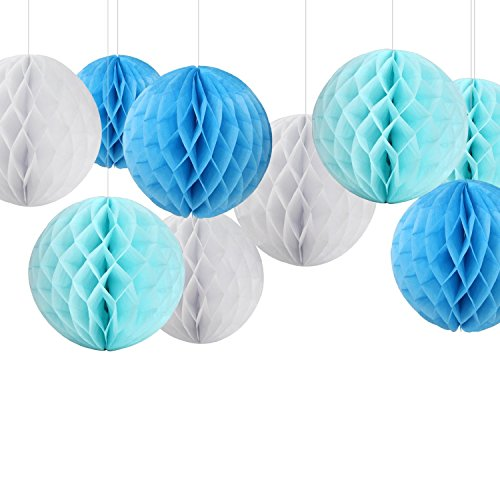 Veewon 6 Decorative Tissue Paper Pom Poms Honeycomb Balls Table Centrepiece Wedding Decoration Festival Birthday Baby Shower Bridal Shower Home Decoration (Blue+LightBlue+White)