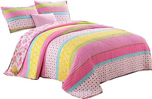 Lighting_time Best Comforter Set 2 Pieces Bedding Set Candy Pink Dot Striped Floral Bedspreads Quilts Set for Girls Kids Children Cotton Full Twin