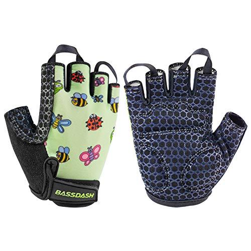 Bassdash Kinderhandschuhe rutschfest Fahrradhandschuhe Touchscreen Fingerlos Radhandschuhe Alter 1-8 für Fahrräder für Jungen und Mädchen