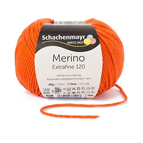Schachenmayr Merino Extrafine 120 9807552-00125 orange Handstrickgarn, Schurwolle