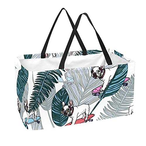 Reusable Grocery Bag Large 50L Storage Bins Basket Shopping Tote Bags French Bulldog on Skateboard and Tropical Leaves