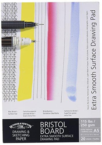 Winsor & Newton 6661541 extra glatter Zeichenblock, 20 Blatt Skizzenblock, kopfgeleimt, 250 g/m², DIN A5