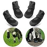Hcpet Protectores de Pata de Perro, Zapatos Perro para Pequeña y Grandes Perros – Negro (1#)