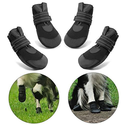 Hcpet Stivali Protettivi per Cani, 4 Pezzi Scarpine Protettive Antipioggia Antiscivolo per Cani per Piccolo a Grande Cani – Nero (4#)