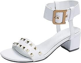 Women Sandals, LIM&Shop Summer Flat Buckle Strap Studded Shoes Casual Block Heel Wedges Shoes Slipper Soft Non-Slip