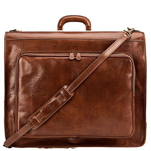 Maxwell-Scott Personalisierte Hochwertige Herren Leder Anzugtasche Rovello in Cognac Braun