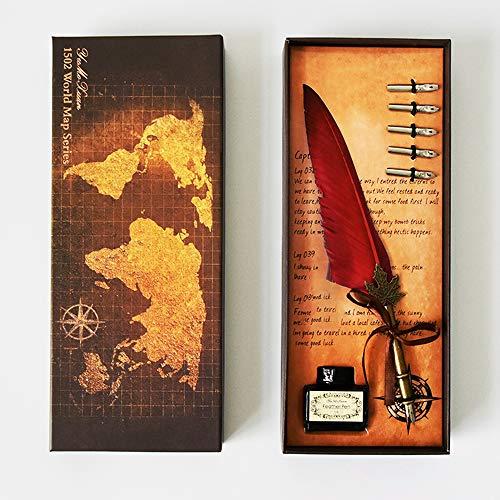 Mreechan Quill Pen Set,Penna Della Piuma di Calligrafia Penna Stilografica Antica,con pennino,Penna...