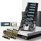 RTYU Fit for Placa Base de minería de máquina BTC-S37 8 CPU Bitcoin Crypto Etherum Set con 4GB DDR3 1600Mhz RAM 1037U 128GB MSATA SSD Cable de alimentación