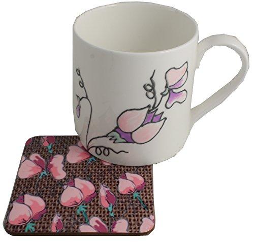 Dreamair Coffret Cadeau avec mug et Dessous-de-Verre Motif Pois de Senteur